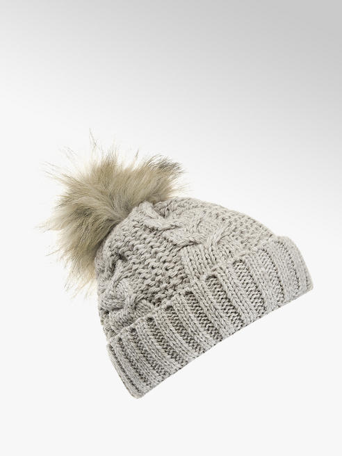Ladies Knitted Faux Fur Pom-Pom Hat