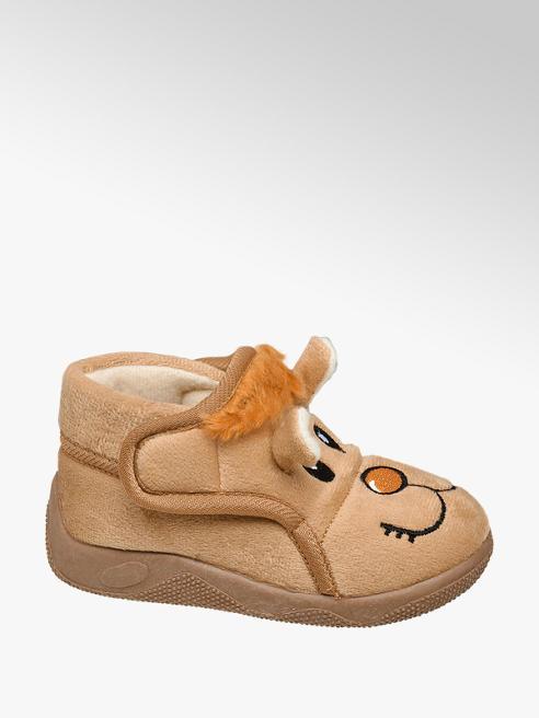 Bobbi-Shoes Bruine pantoffel klittenband