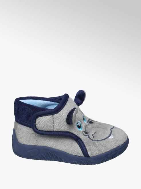 Bobbi-Shoes Grijze pantoffel klittenband