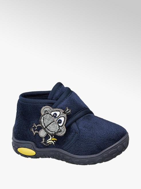 Bobbi-Shoes Blauwe pantoffel klittenband