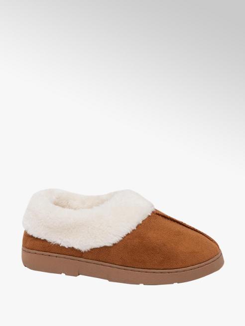 Ladies Faux Fur Collar Full Slippers