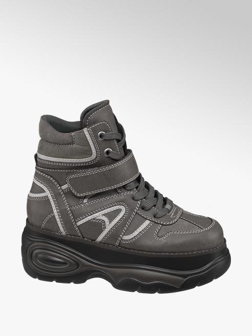 Graceland Grijze halfhoge sneaker plateauzool