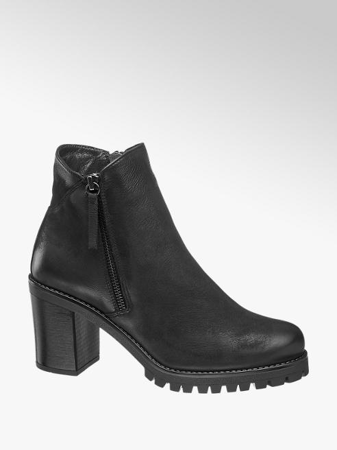 5th Avenue Black Chunky Heeled Ankle Boot