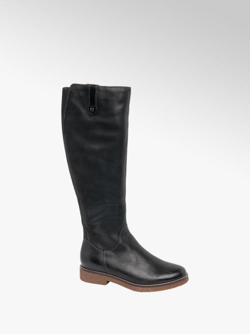 5th Avenue Black Leather Long Leg Boots