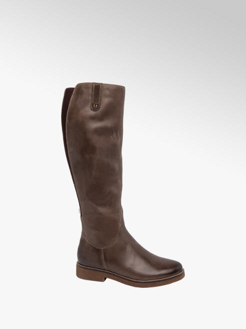 5th Avenue Brown Leather Long Leg Boots
