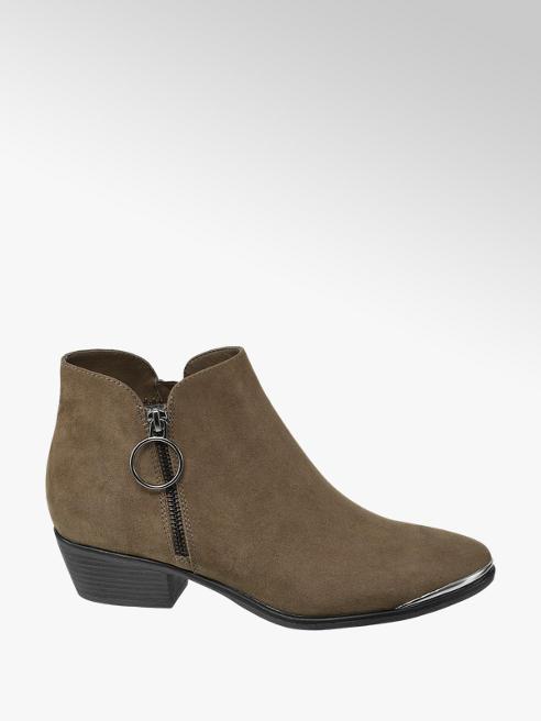 Graceland Khaki Zip Detail Chelsea Boots
