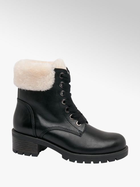 Landrover Black Fur Lace-up Ankle Boot