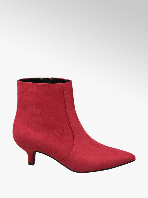 Catwalk Red Kitten Heel Boots