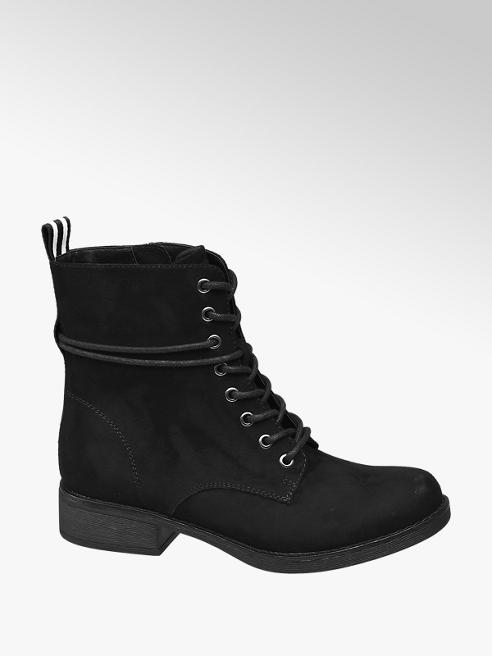 Graceland Black Stripe Lace-up Ankle Boots