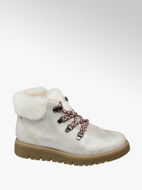 Graceland Junior Girl Faux Fur Collar Lace-up Ankle Boots