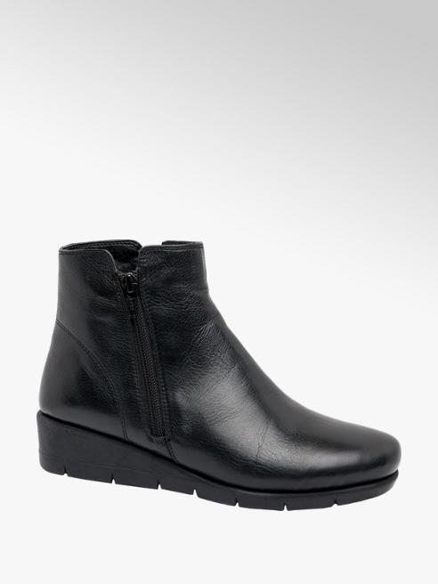 Easy Street Black Wedge Heel Slip-on Ankle Boots