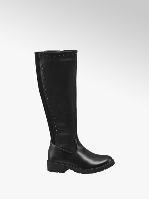 Graceland Black Stud Detail Long Leg Boot