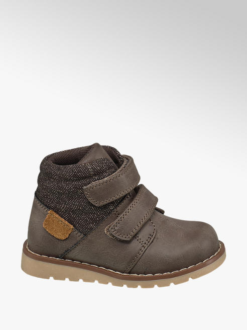 Bobbi-Shoes Toddler Boy Taupe Twin Strap Ankle Boots