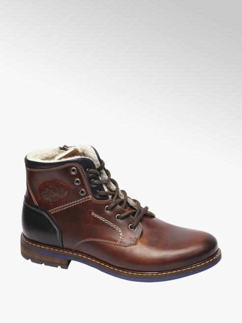 AM shoe Cognac leren boot vetersluiting