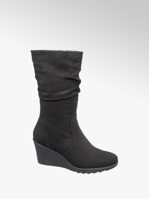 Graceland Black Wedge Heel Boots