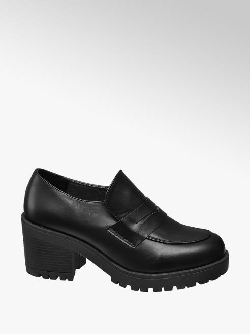 Graceland Black Chunky Heeled Shoes
