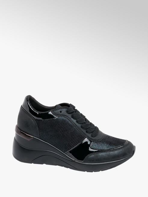 Catwalk Black Lace Up Wedge Trainers
