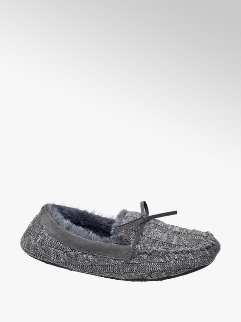 Casa mia Grijze pantoffel warmgevoerd