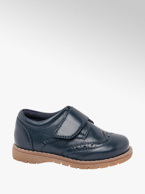 Bobbi-Shoes Toddler Boy Navy Leather Rip Tape Brogues