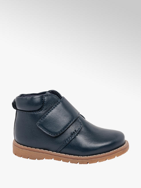 Bobbi-Shoes Toddler Boy Navy Leather Strap Ankle Boots