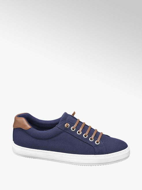 Vty Blauwe canvas sneaker slip on