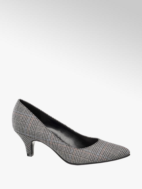 Graceland Black and White Check Court Shoes