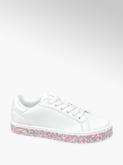 Graceland Witte sneaker plateauzool gekleurde steentjes