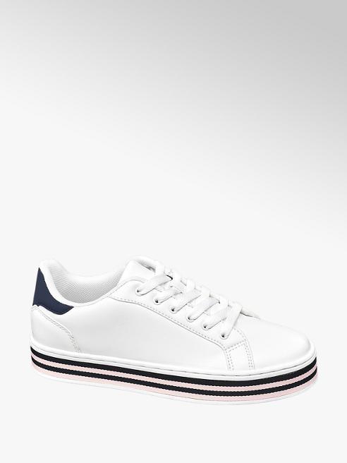 Graceland Witte sneaker gestreepte zool