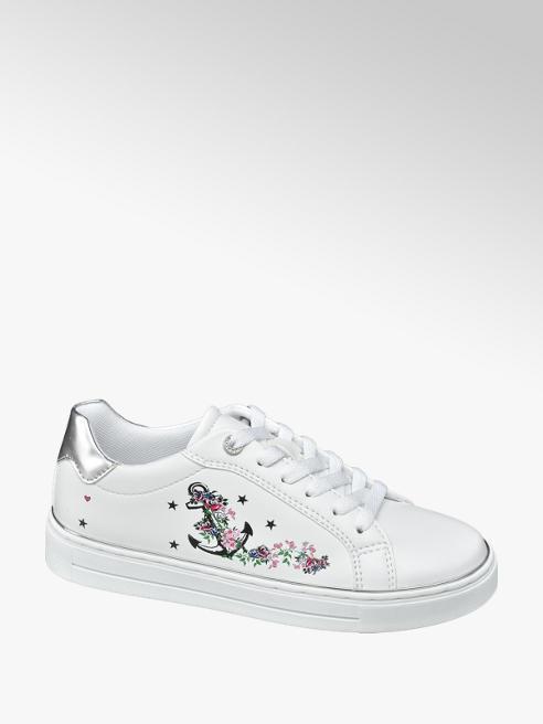 Graceland Witte sneaker plateauzool opdruk