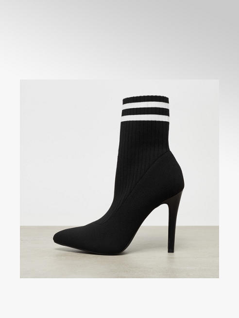 Catwalk Black Striped Sock High Heels