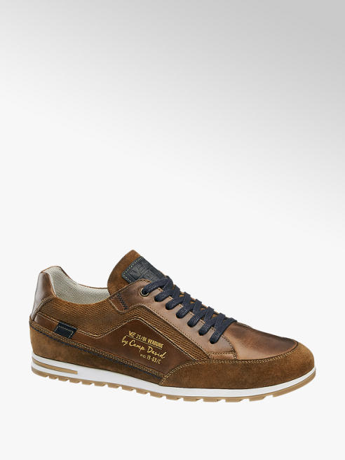 Venture by Camp David Bruine leren sneaker vetersluiting