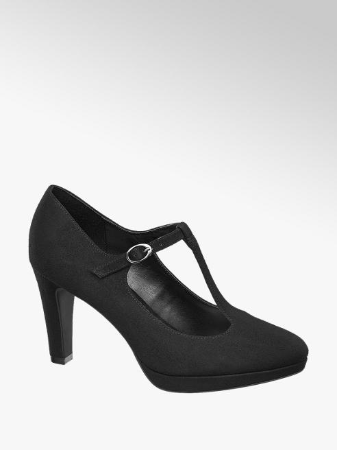 Graceland Black T-Bar High Heels