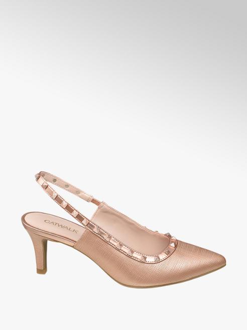 Catwalk Rose Gold Studded Slingback Heels