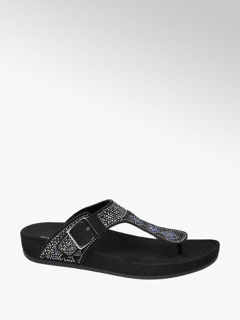 Graceland Zwarte slipper steentjes