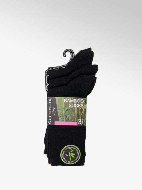 Glenmuir Ladies 3 Pack Black Glenmuir Bamboo Ankle Socks (UK 4-8)