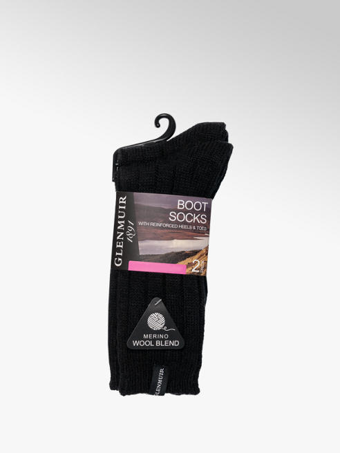 Glenmuir Ladies 2 Pack Glenmuir Boot Socks (UK 4-8)