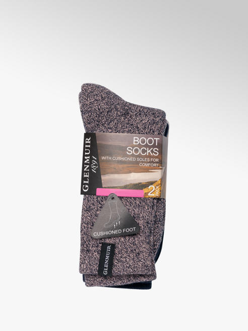 Glenmuir Ladies 2 Pack Glenmuir Boot Socks (UK 4-8)
