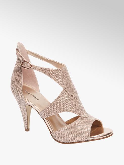 Graceland Rose gouden glitter pump