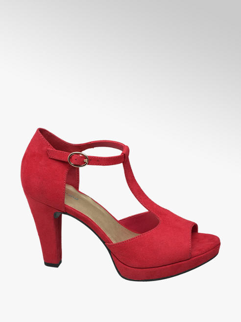 Graceland Rode pump peeptoe