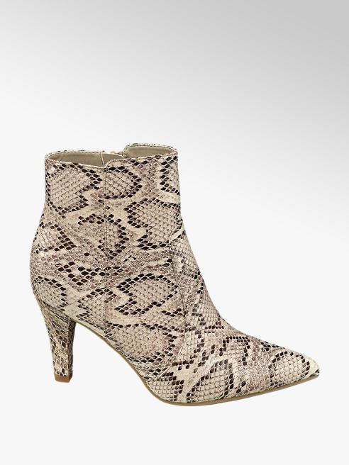 Graceland Beige enkellaars slangenprint