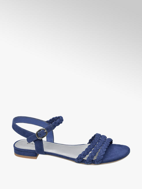 Graceland Blauwe sandaal gevlochten bandjes
