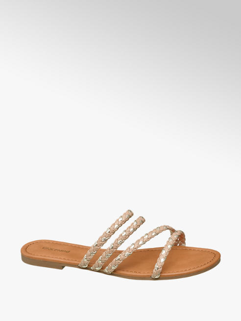 Graceland Beige / metallic gouden slipper bandjes