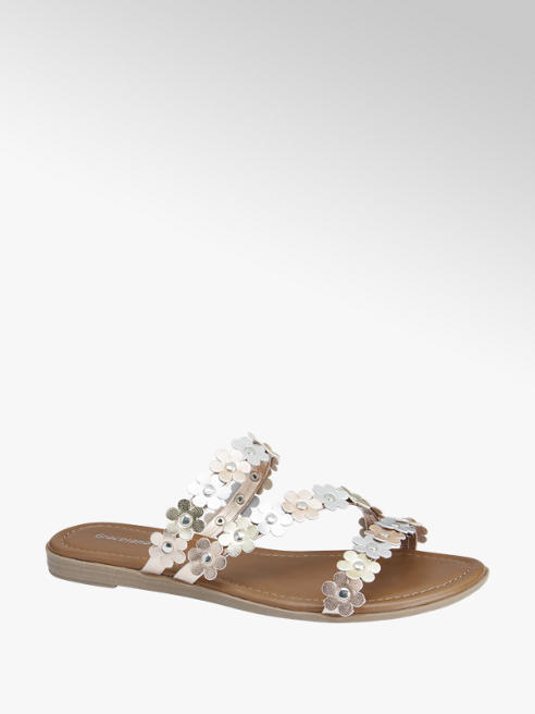 Graceland Metallic slipper bloemen