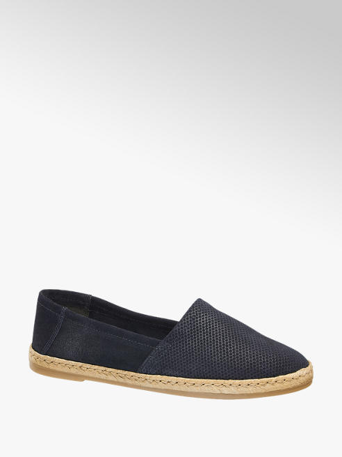 5th Avenue Blauwe suède loafer espadrillezool