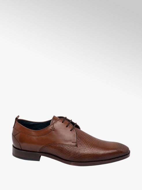 AM SHOE Mens Tan Leather Formal Lace-up Shoes