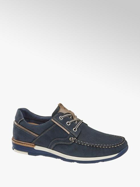 AM shoe Blauwe leren veterschoen