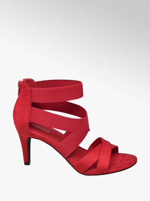 Graceland Rode sandalette elastieken banden