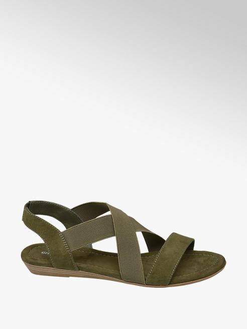 Graceland Olijfgroene sandaal elastieken