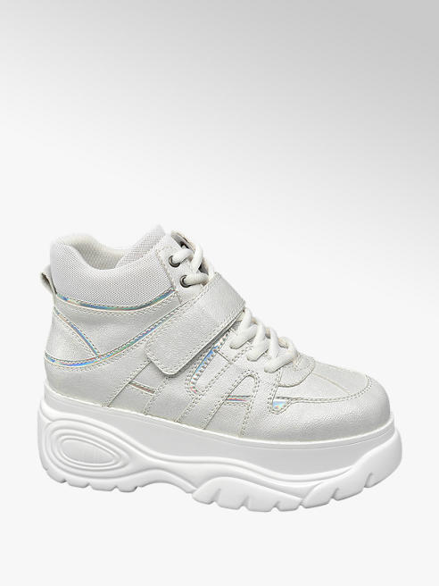 White Chunky Lace up Platform Trainers