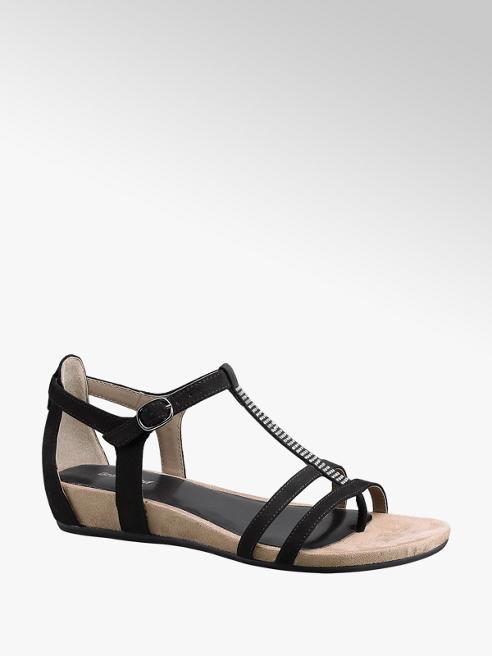 Graceland Zwarte sandaal strass steentjes